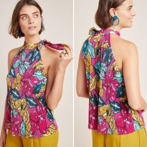 Anthropologie Maeve Glocester Floral Halter Top